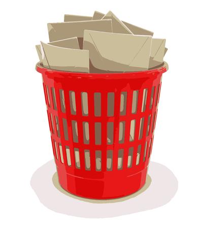 wastepaper basket: garbage basket and letters Illustration
