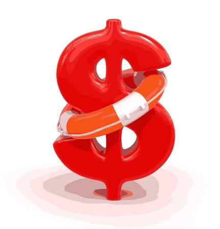 Dollarteken en Lifebuoy Stock Illustratie