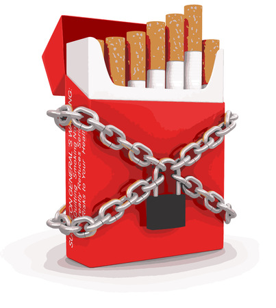cigarette pack: Cigarette Pack and lock Illustration
