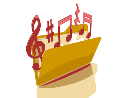 3d music: 3d music notes in Folder Illustration