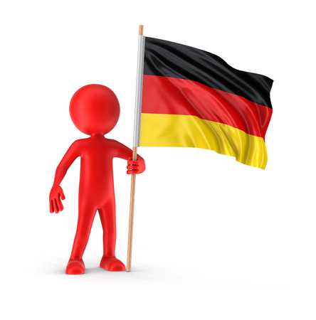 german flag: Man and German flag  Stock Photo
