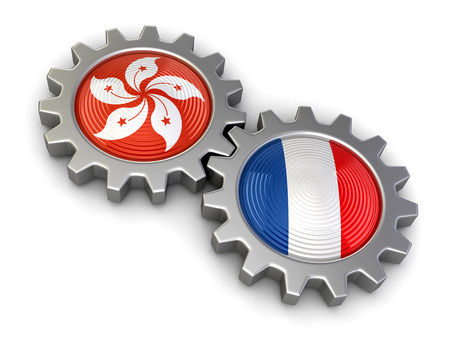 Hong Kong and French flags on a gears design