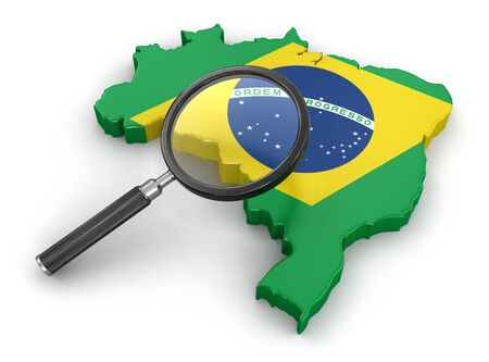 tool transparent white world: Map of Brazil with loupe Stock Photo