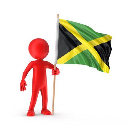 jamaican flag: Man and Jamaican flag