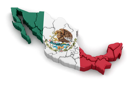 mexican flag: Map of Mexico. Image with clipping path. Stock Photo