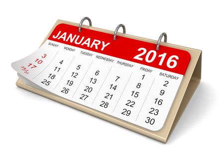 カレンダー - 2016 年 1 月クリッピング パスを含める 写真素材