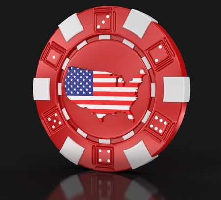 casino chips: chip of casino with Map of USA clipping path included Stock Photo