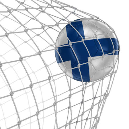 soccerball: Finnish soccerball in net. Image with clipping path