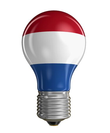 netherlands flag: Light bulb with Netherlands flag clipping path included