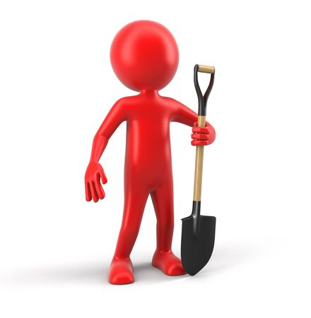 earth moving: Man and Shovel clipping path included Stock Photo