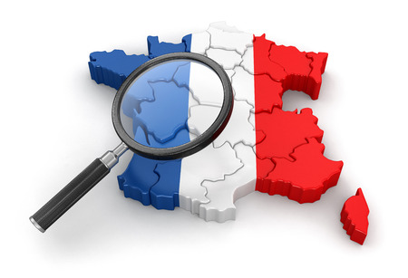 Map of France with loupe. Image with clipping path.
