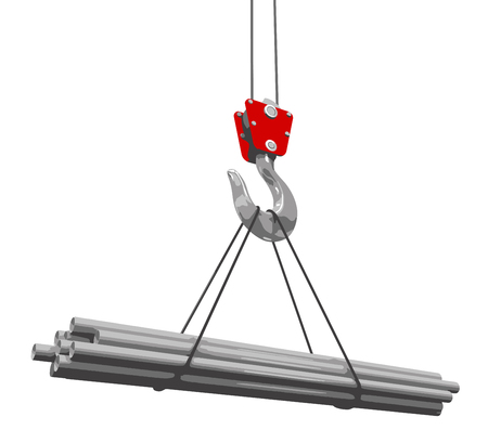 girders: Crane raises a tubes. Image with clipping path