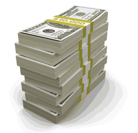 us paper currency: Pile of Dollars clipping path included Illustration
