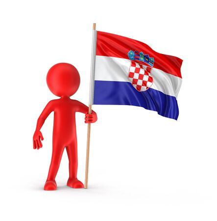 croatian: Man and Croatian flag clipping path included