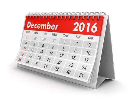 calendario diciembre: Calendario - diciembre 2016 camino de recorte incluidos Foto de archivo