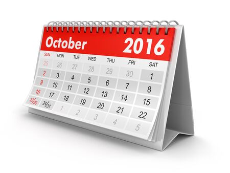 calendar october: Calendar -  October 2016 clipping path included
