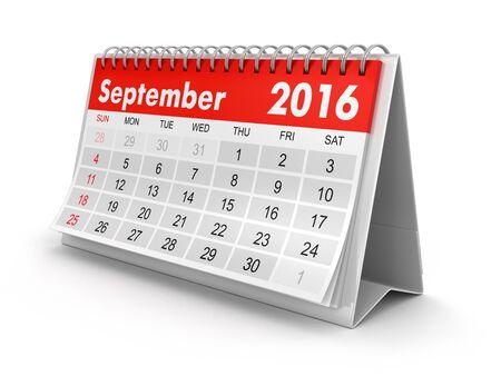 calendar september: Calendar -  September 2016 clipping path included