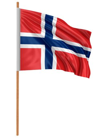 norwegian: 3D Norwegian flag clipping path included Stock Photo
