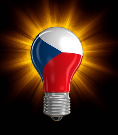 czech culture: Light bulb with Czech flag clipping path included