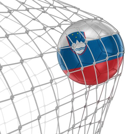 soccerball: Slovene soccerball in net. Image with clipping path