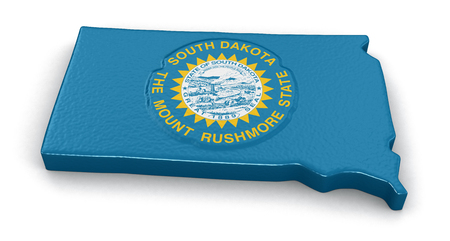 find us: Map of South Dakota state with flag