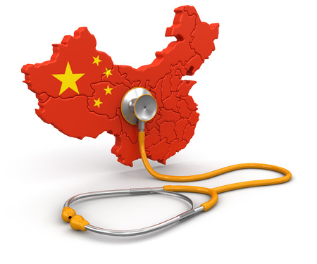 Map of China with Stethoscope