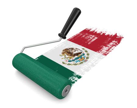 bandera de mexico: Rodillo de pintura con la bandera mexicana