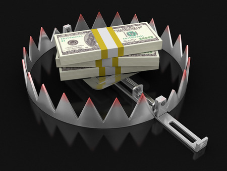 mantrap: Trap and Dollars   Stock Photo