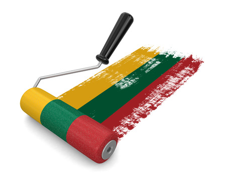 paintroller: Paint roller with Lithuanian flag  Stock Photo