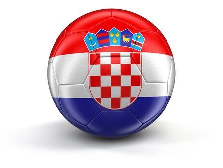 croatian: Soccer football with Croatian flag.