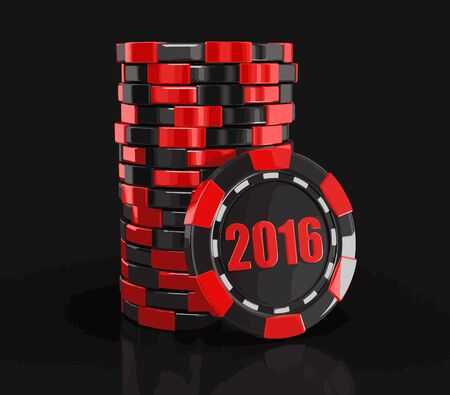 casino chips: chip of casino 2016 Illustration