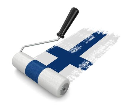household objects equipment: Paint roller with Finnish flag clipping path included Stock Photo