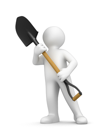 digging: Man and Shovel clipping path included Stock Photo