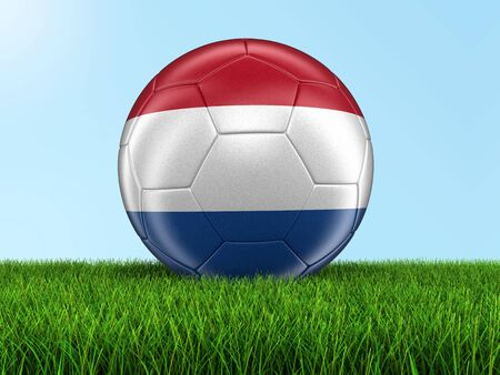 netherlands flag: Soccer football with Netherlands flag on grass Stock Photo