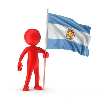 argentina flag: Man and Argentina flag clipping path included