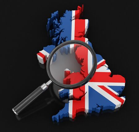 Map of United Kingdom with loupe. Image with clipping path.