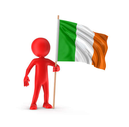 irish flag: Man and Irish flag clipping path included Stock Photo