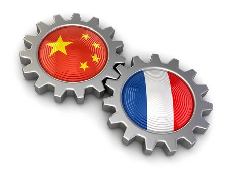 chinese symbol: Chinese and French flags on a gears clipping path included Stock Photo
