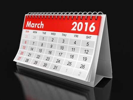 included: Calendar -  March 2016  clipping path included