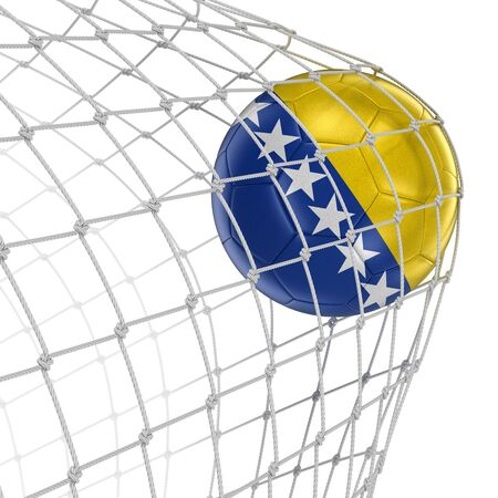 soccerball: Bosnia and Herzegovina soccerball in net. Image with clipping path