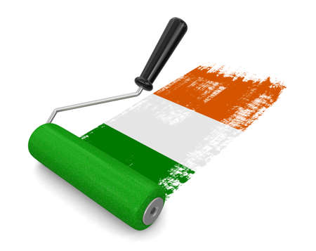 irish flag: Paint roller with Irish flag clipping path included Stock Photo