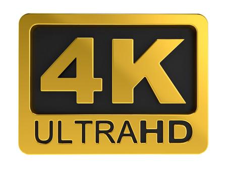 Ultra HD 4K icoon. Afbeelding met uitknippad. Stockfoto