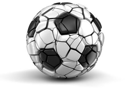 apart: Soccer football falls apart. Image with clipping path