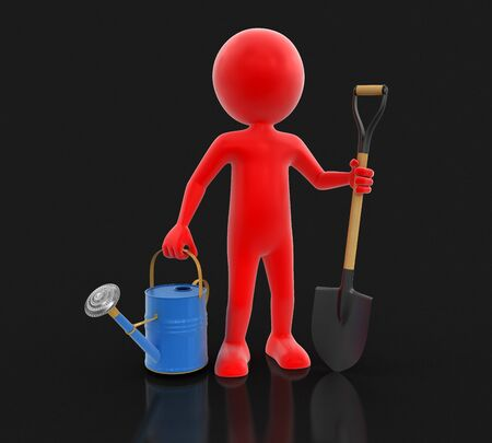 cultivated land: Man with Shovel and Watering Can clipping path included Stock Photo