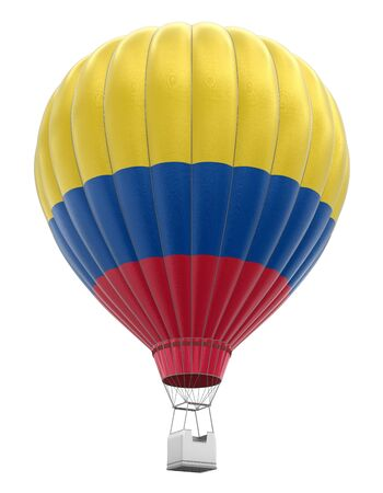 colombian flag: Hot Air Balloon with Colombian Flag clipping path included Stock Photo