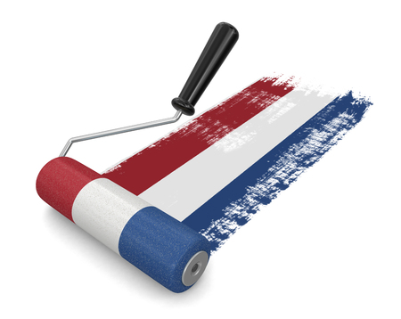 netherlands flag: Paint roller with Netherlands flag clipping path included