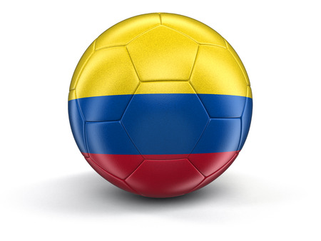 colombian flag: Soccer football with Colombian flag. Image with clipping path