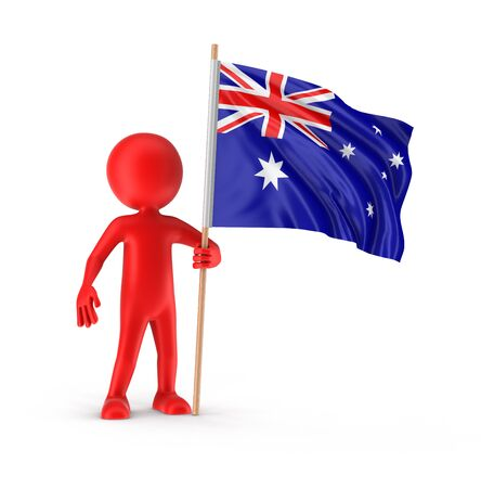 australian flag: Man and Australian flag clipping path included Stock Photo