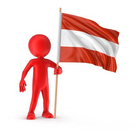 austrian flag: Man and Austrian flag clipping path included