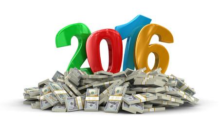 新しい年 2016 年とドルのクリッピング パスを含める